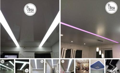 Парящие линии и световые полосы на натяжном потолке